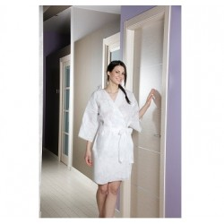 Kimono jetable femme en non tissé blanc